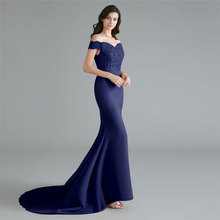 Evening-Dress Robe-De-Soiree Sequined Lace-Up Beauty Emily Party Navy-Blue Formal Beads