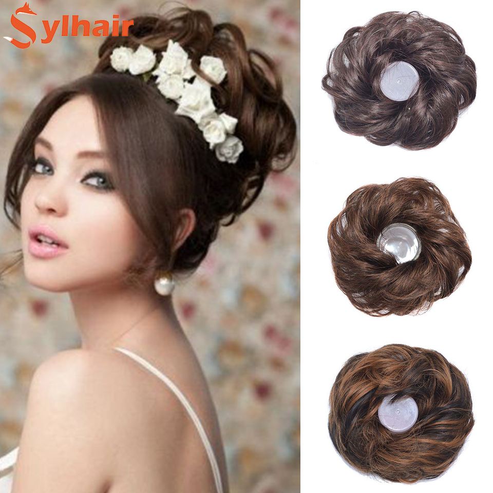 Curly Messy Chignon With Rubber Band Synthetic Hair Extensions Black Brown Donut Hair Bun High Temperature Fiber Hairpieces Sylh