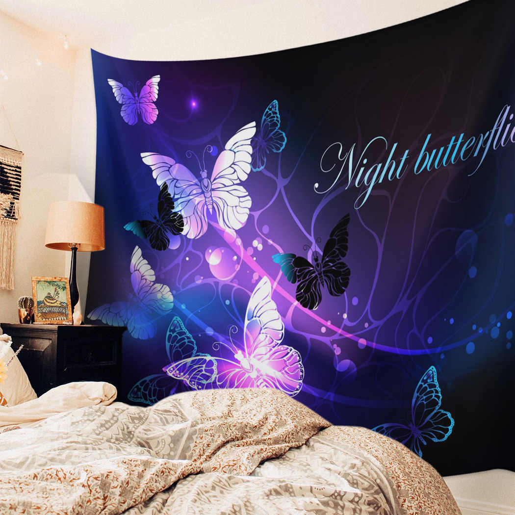 Bedroom Wall Tapestry Purple Animal Butterfly Tapestry Wall Hanging Picnic Yoga Mat Living Room Wall Decoration Tapestry Aliexpress