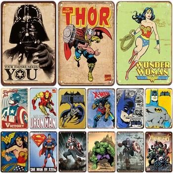 Placa de Metal de superhéroe cartel de hojalata Vintage Pin Up Shabby Chic decoración Metal signos Vintage Bar decoración Metal cartel Pub placa de Metal