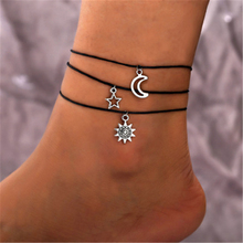 3 / piece simple new popular anklet black rope chain moon sun stars pendant fashion jewelry accessories gift 2019 hot