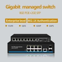 8 יציאת מתג Gigabit PoE Ethernet מתג מנוהל PoE 48V מתג עם 2 Gigabit SFP חריצים IGMP VLAN ניהול poE מתג