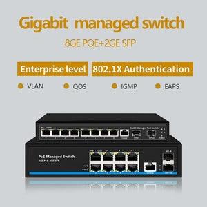 Image 1 - 8 יציאת מתג Gigabit PoE Ethernet מתג מנוהל PoE 48V מתג עם 2 Gigabit SFP חריצים IGMP VLAN ניהול poE מתג
