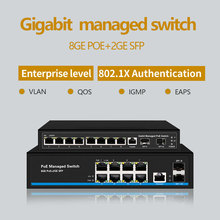 8 Port Gigabit switch PoE Ethernet Switch Managed 48V With 2 SFP Slots IGMP VLAN Management
