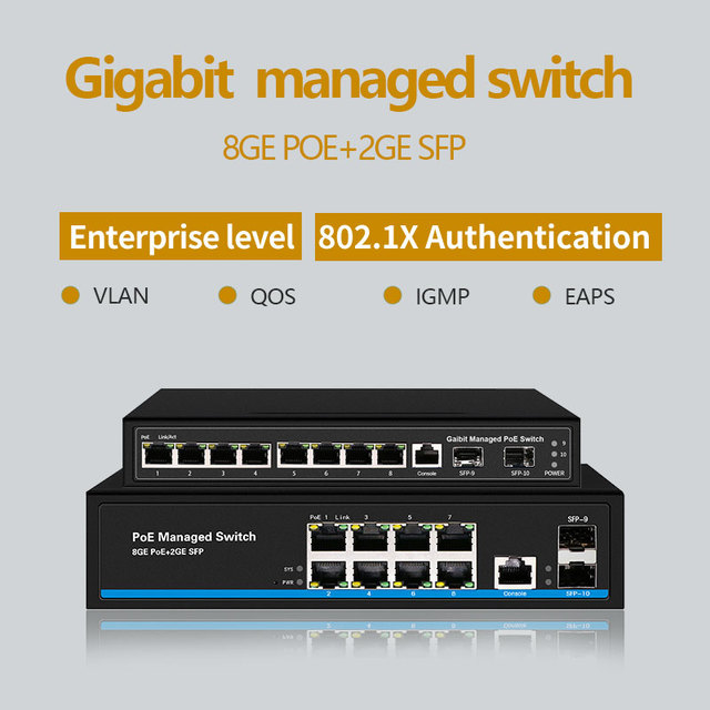 8 Port Gigabit switch PoE Ethernet Switch Managed PoE 48V Switch With 2 Gigabit SFP Slots IGMP VLAN Management PoE Switch
