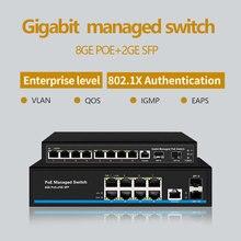 8 porte switch Gigabit PoE Switch Ethernet Gestito PoE 48V Interruttore Con 2 Gigabit SFP Slot di IGMP VLAN di Gestione switch PoE