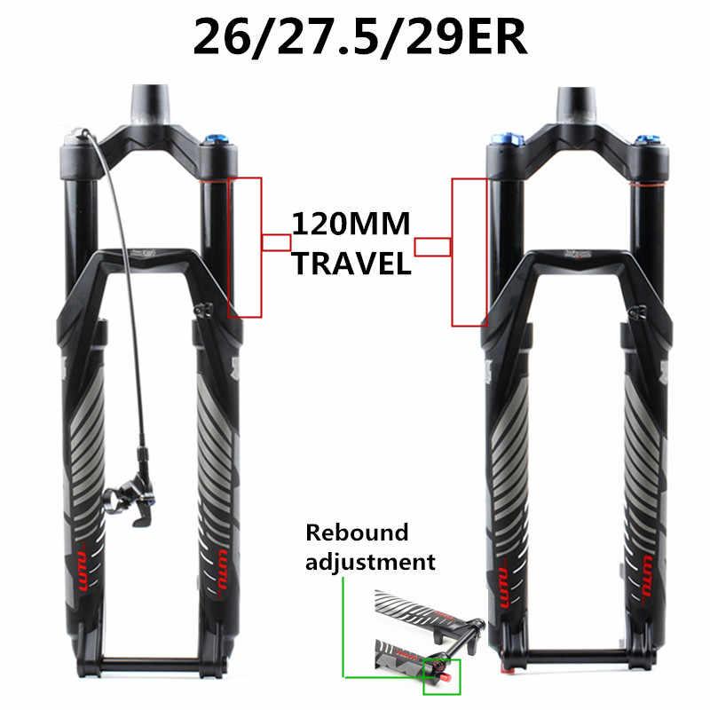 """LUTU MTB Bike Suspension Fork 140mm Rebound Thru Axle Tapered Fork 26//27.5//29/"""""""