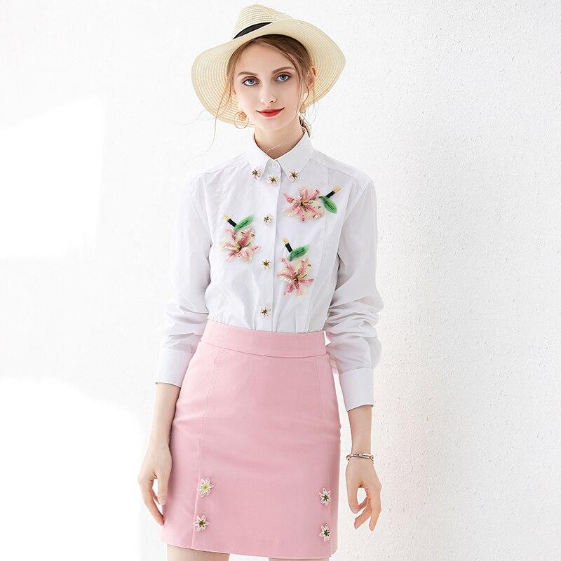 VERDEJULIAY piste blanc Blouse Womne 2020 printemps été mode nouvelles dames chemise 3D fleur perles diamants bureau haut en coton