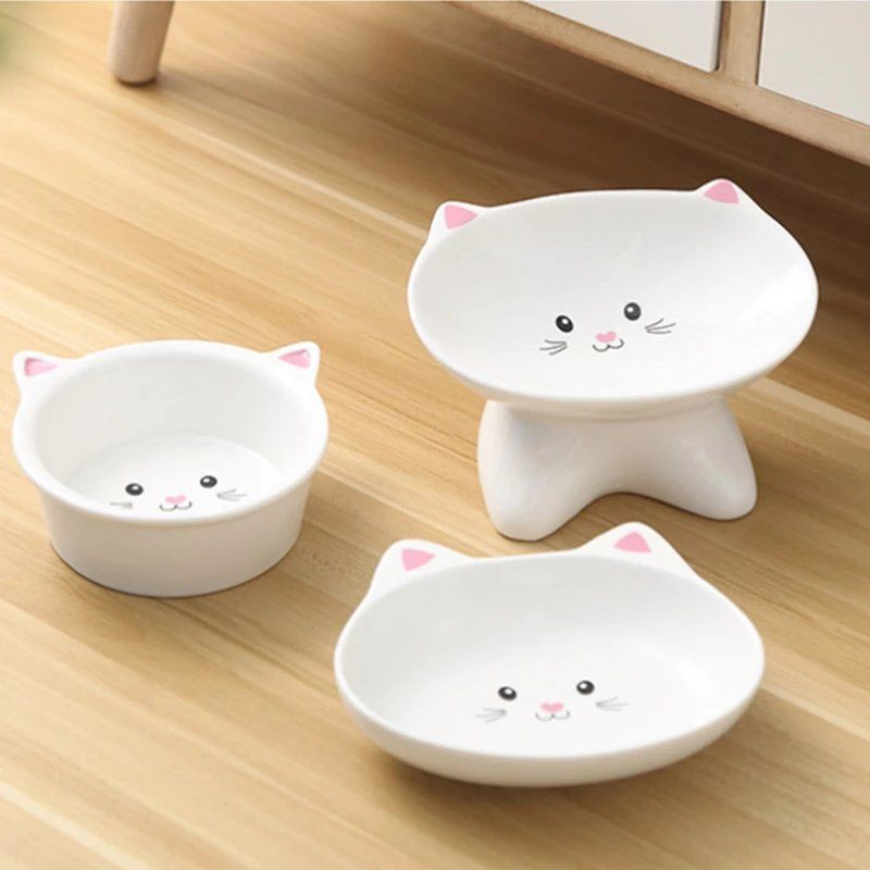 Cute Patterns Ceramic Pet Bowl Cute Cat Bowl Water Basin Dog Pot Pet Drinking Eat Bowl Round Ceramic Bowl Dog Feeders