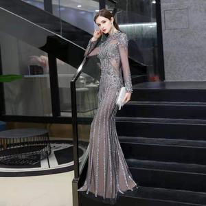 Image 1 - 2020 new evening dress banquet noble gray high end queen aura host mermaid dress