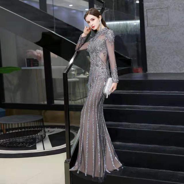 2020 new evening dress banquet noble gray high end queen aura host mermaid dress