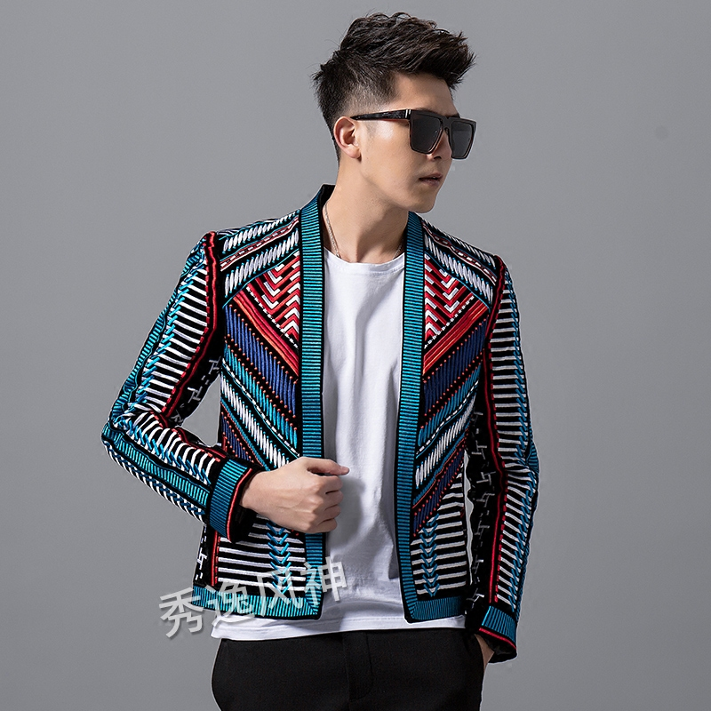 Hot Autumn Winter Blazer Men's New Fashion Handsome Jacket male Slim Suit Korean Striped Embroidery Men Hip Hop Trend Coat