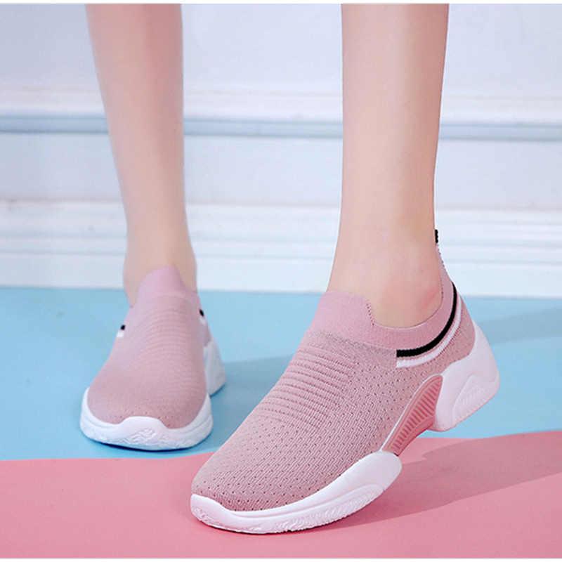 Kadın Sneakers ayakkabı rahat kadın spor ayakkabı üzerinde kayma örgü rahat koşu ayakkabısı kadın düz Platform kadın ayakkabıları bahar