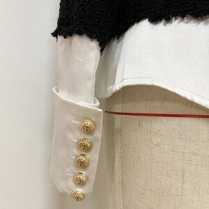 Image 5 - HIGH QUALITY 2020 Newest Fashion Designer Jacket Womens Lion Buttons Satin Wool Blend Patchwork Tweed Jacket