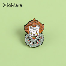 Pennywise Clown Enamel Pin Stephen King Kami Semua Mengapung Di Sini Joker Horor Film Perhiasan Lencana Bros Kerah Pin(China)