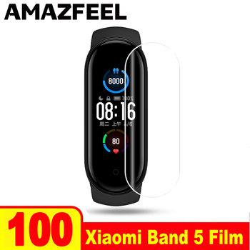 100Pcs/Pack For Xiaomi Mi Band 5 Protective Film Miband 5 Screen Protector Film For Xiaomi MiBand 5 Smart Wristband Accessories