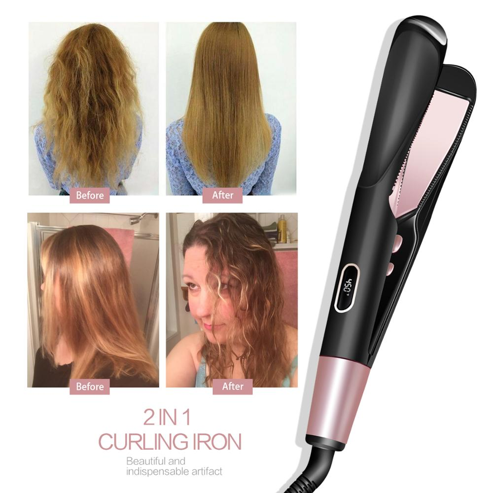 2-in-1 Straight & Curl Tourmaline Ceramic Twisted Flat Iron Hair Straightener/Curler Dual Voltage For All Hair Types Salon Tool