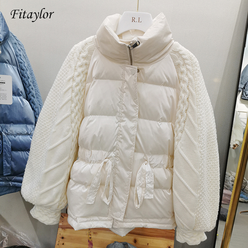 Fitaylor Winter Jacket Women Knitted Patchwork Down Coat Women Zipper White Duck Down Jacket Female Short Thick Warm Overcoat
