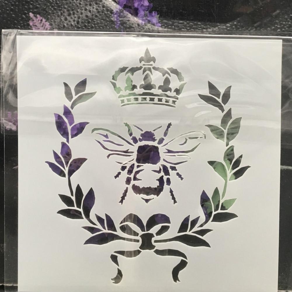 13cm Bee Crown DIY Layering Stencils Wall Painting Scrapbook Coloring Embossing Album Decorative Card Template
