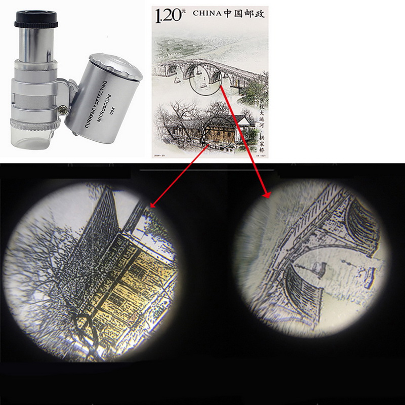 Mini 60/45x Microscope Magnifying With LED UV Light Pocket Jewelry Magnifier Jeweler Loupe Zoom Tool