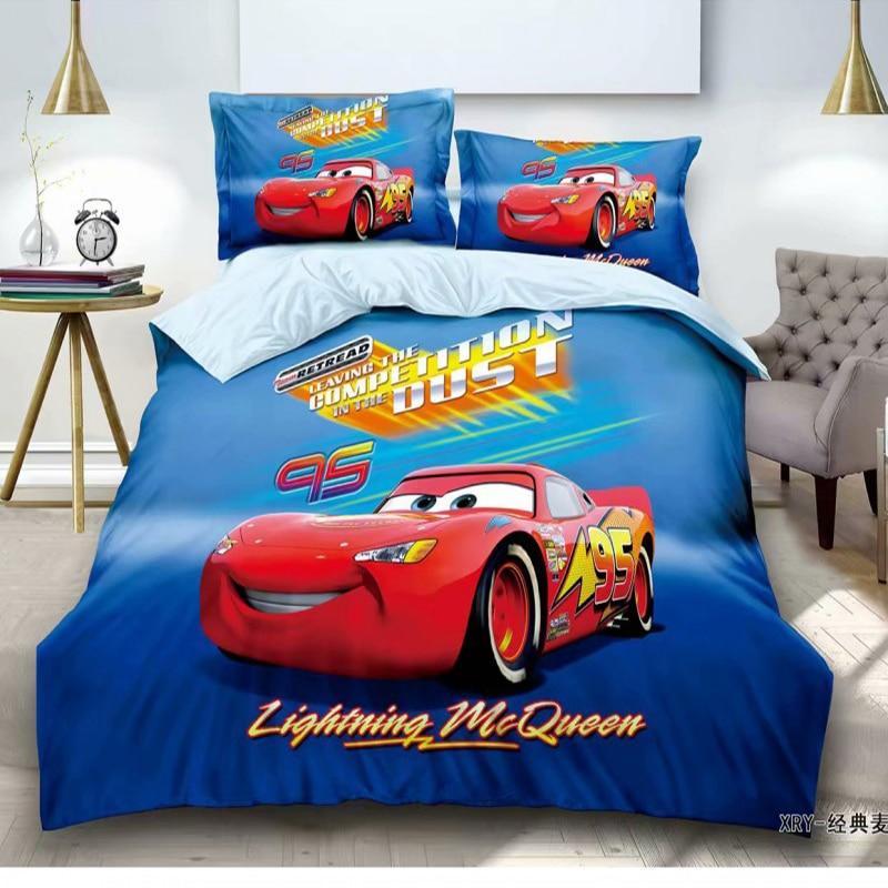 Disney Cartoon Mc Queen Car Spiderman Bedding Sets Duvet Cover Pillowcase Children Boys Birthday Gift 1.0m 1.2m Bed