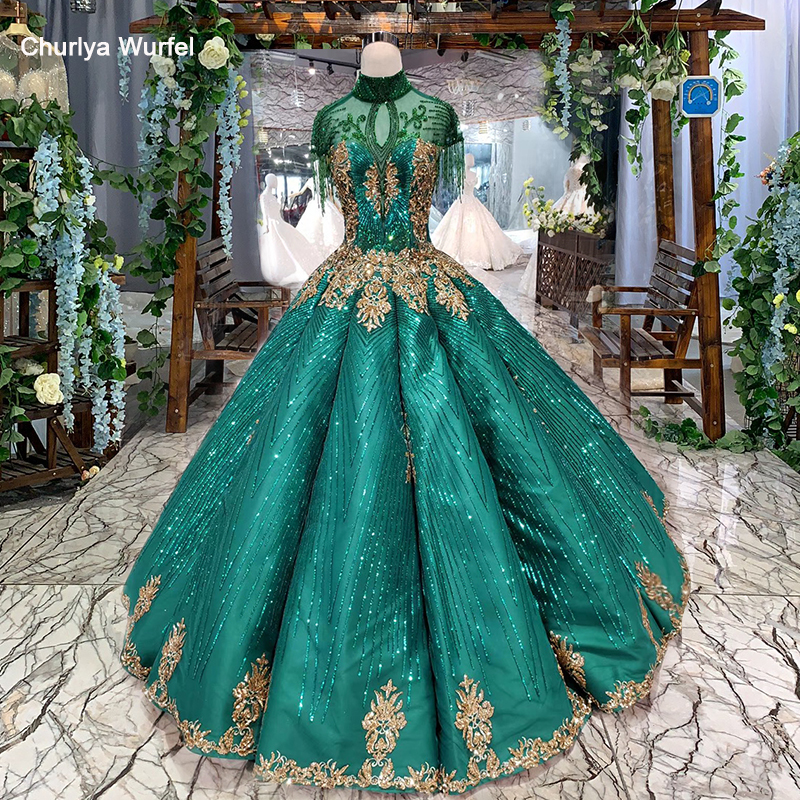 HTL284 Green Evening Dresses With Shiny Lace Cap Tassel Sleeve Crystal High Neck Beading Prom Dresses Abiti Da Cerimonia Da Sera