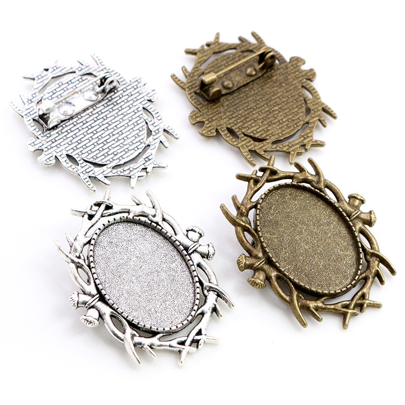 5pcs 18x25mm Inner Size Antique Silver Colors Bronze Plated Brooch Pin Classic Style Cameo Cabochon Base Setting