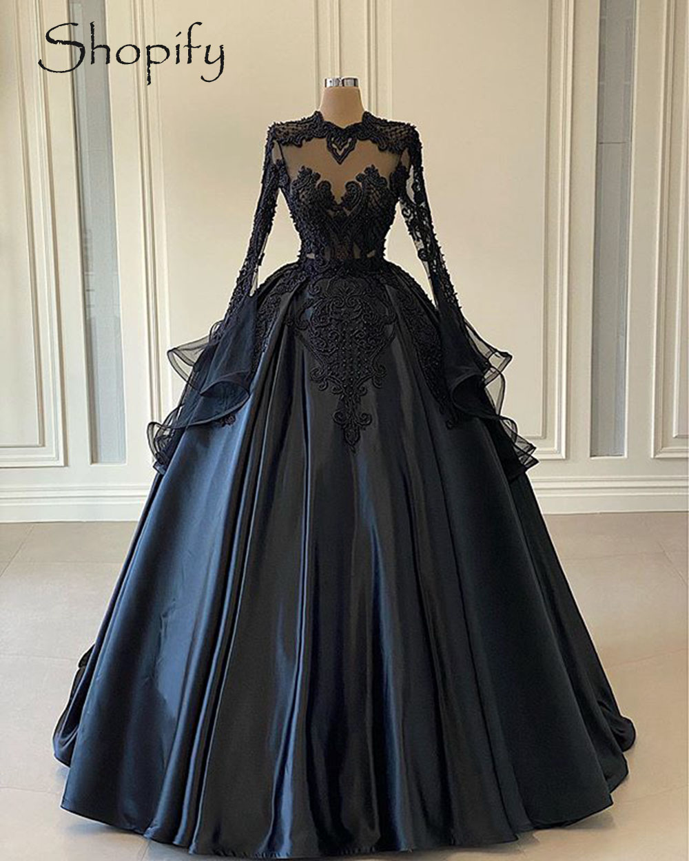 Puffy Ball Gown Long Sleeve Women Evening Dress 2020 Beaded Sheer Lace Black Twill Satin Dubai Style Formal Gowns Leather Bag