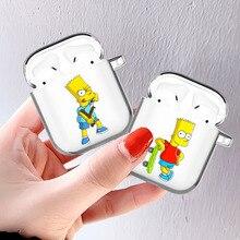 Милый Гомер J Симпсон Забавный Барт мультфильм Прозрачный Airpod чехол для Apple Airpods 1 2 чехол беспроводной Bluetooth наушники чехол