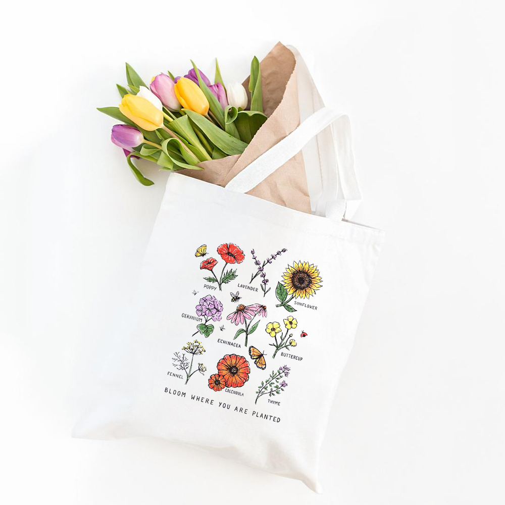 Bloom Where You Are Planted Summer Women Casual Shoulder Bag Large Capacity Flower Print Canvas Harajuku Grocery Shopper Bags