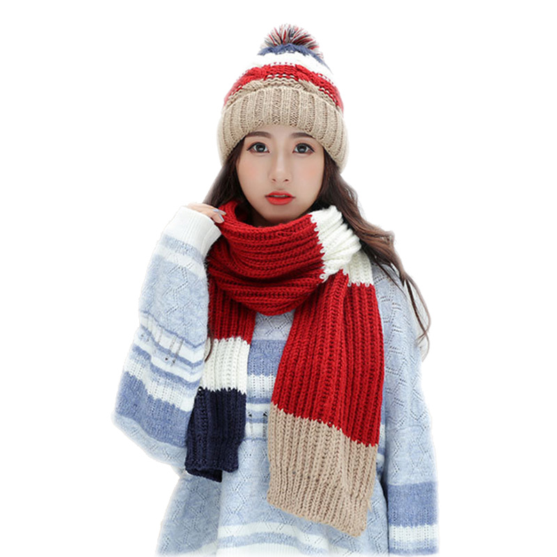 Patchwork Plus Velvet Hats For Women 2019 Winter Scarf For Women Outdoor Warm Shawl Beanies Thick Knit Long Scarf And Hat Set