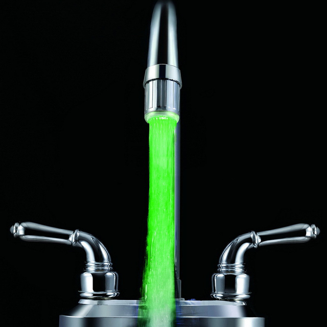 Светящийся светодиодный водопроводный кран для душа, водопроводная насадка для ванной комнаты, кухонный нагреватель, термостат, синий/3 вид...