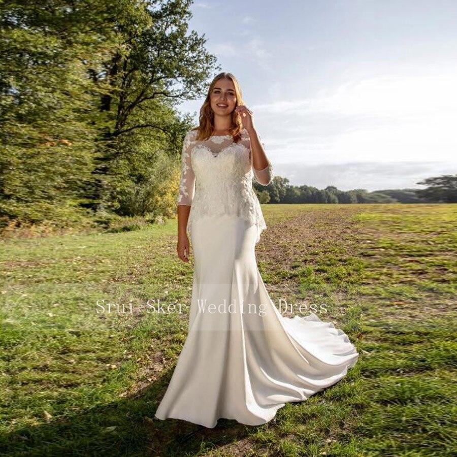 White Mermaid Wedding Dress Lace With Sleeve Custom Made Vestidos De Noiva Sereia Plus Size Bridal Dress With Train