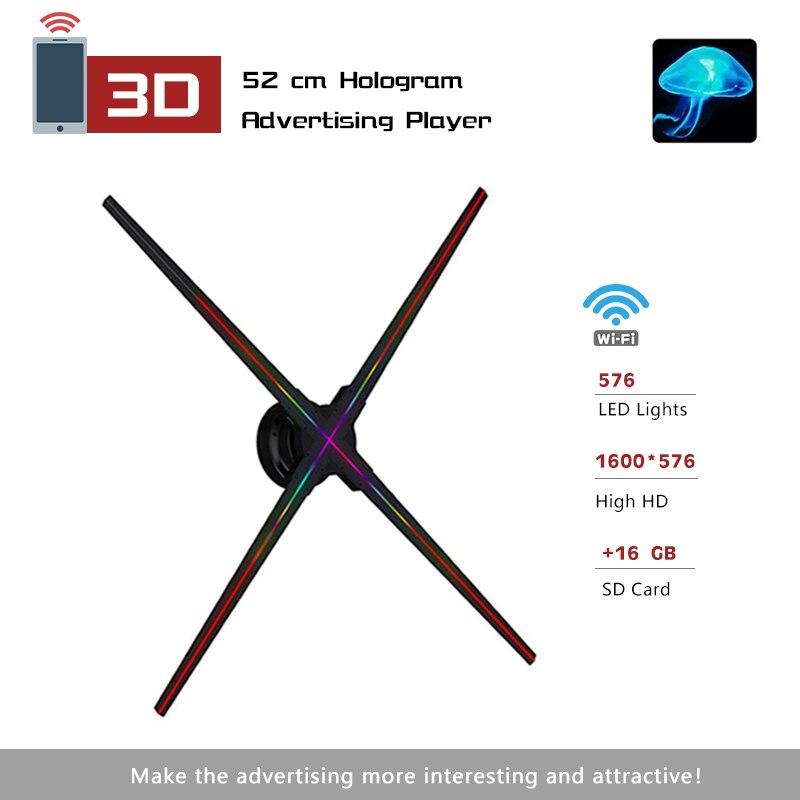 Advertising 3D Hologram Projector Light APP Control 576 LED Light Virtual 3D Video Imaging LED Fan Holographic LED Decoration