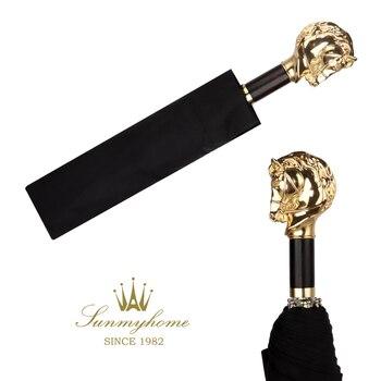 Gold Folding Luxury Umbrella Metal Sun Rain Women Animal Head Umbrella Business Retro Rain Umbrellas Travel Gift Ideas Y6S