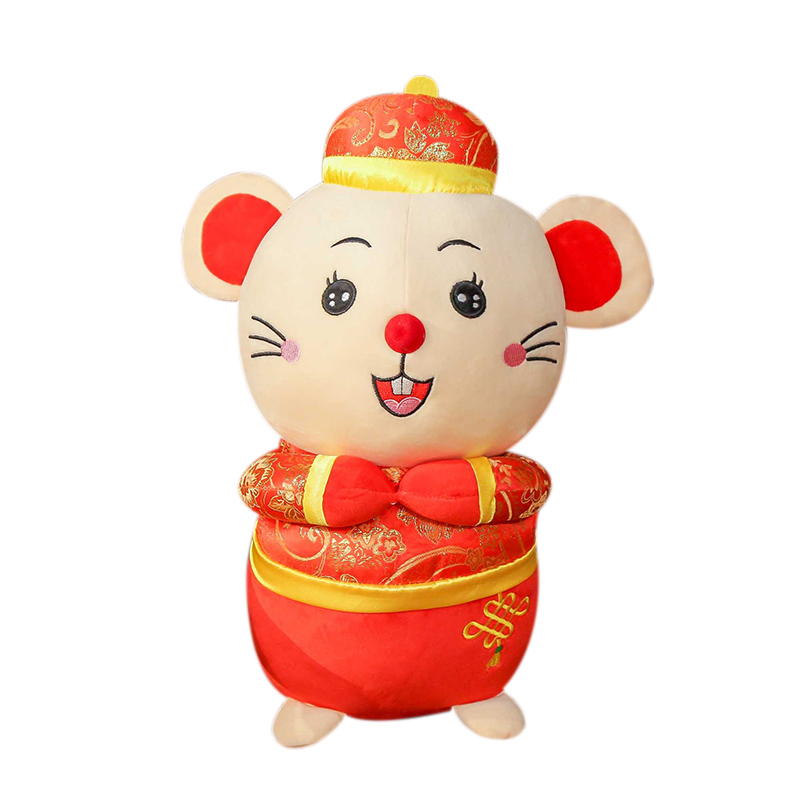 New  2020 Year Plush Rat Year Mascot Toy  Red Mouse In Tang Suit Soft Toys Chinese New Year Party Decoration Birthday Gift
