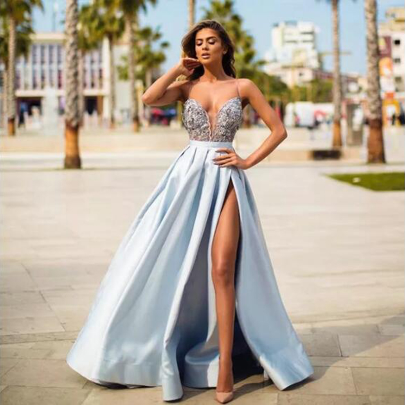 Sky Blue Satin Evening Gown 2019 A-Line Sexy High Split Top Lace Long Prom Dresses Straps Real Photo Vestidos De Gala
