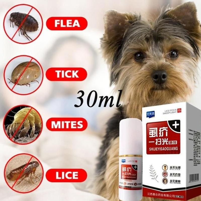 Pet Cats Dogs Flea Killer Spray 30ml Puppy Tick Mite Mange Treatment Liquid New Tick Licking Light Spray 30ml Kill Lice Fleas