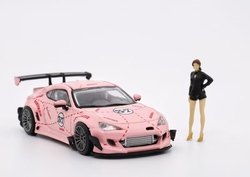 LM 1:64 Toyota Supra Rocket Bunny Wide-body 86 Pink Pig #37 with figure Diecast Model Car