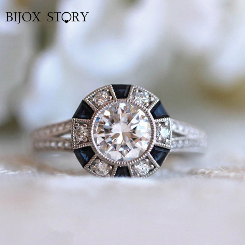 BIJOX STORY elegant 925 silver jewelry ring for female with sapphire zircon gemstones fashion rings wedding party gift size 5-12