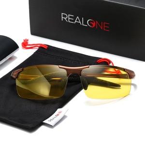 Image 2 - אלומיניום ראיית לילה משקפיים כדי להפחית בוהק עם צהוב מקוטב עדשות לילה משקפיים נהיגה בלילה דיג 5933