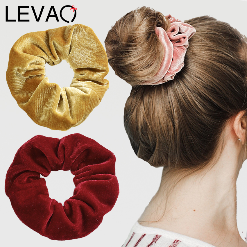 Levao 2PCS Women Velvet Scrunchies Hair Bow Ties Rope For Girls Ponytail Holders Rubber Band Elastic Hair Bands Hair Accessories