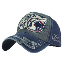 Washed baseball cap men and women trend shark personality European and American cap burst spring and autumn shade hat