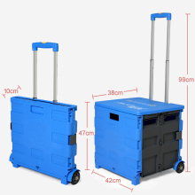 Large Folding Shopping Trolley Light Weight Push Cart Foldable 2 Wheels Rolling Storage Box Car Boot