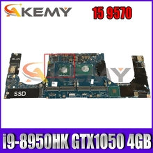 For DELL P56F XPS 15 9570 Laptop motherboard CN-0WN7RX 0PJWNT LA-G341P LA-F541P MB With i9-8950HK CPU GTX1050 4GB-GPU 100% Test