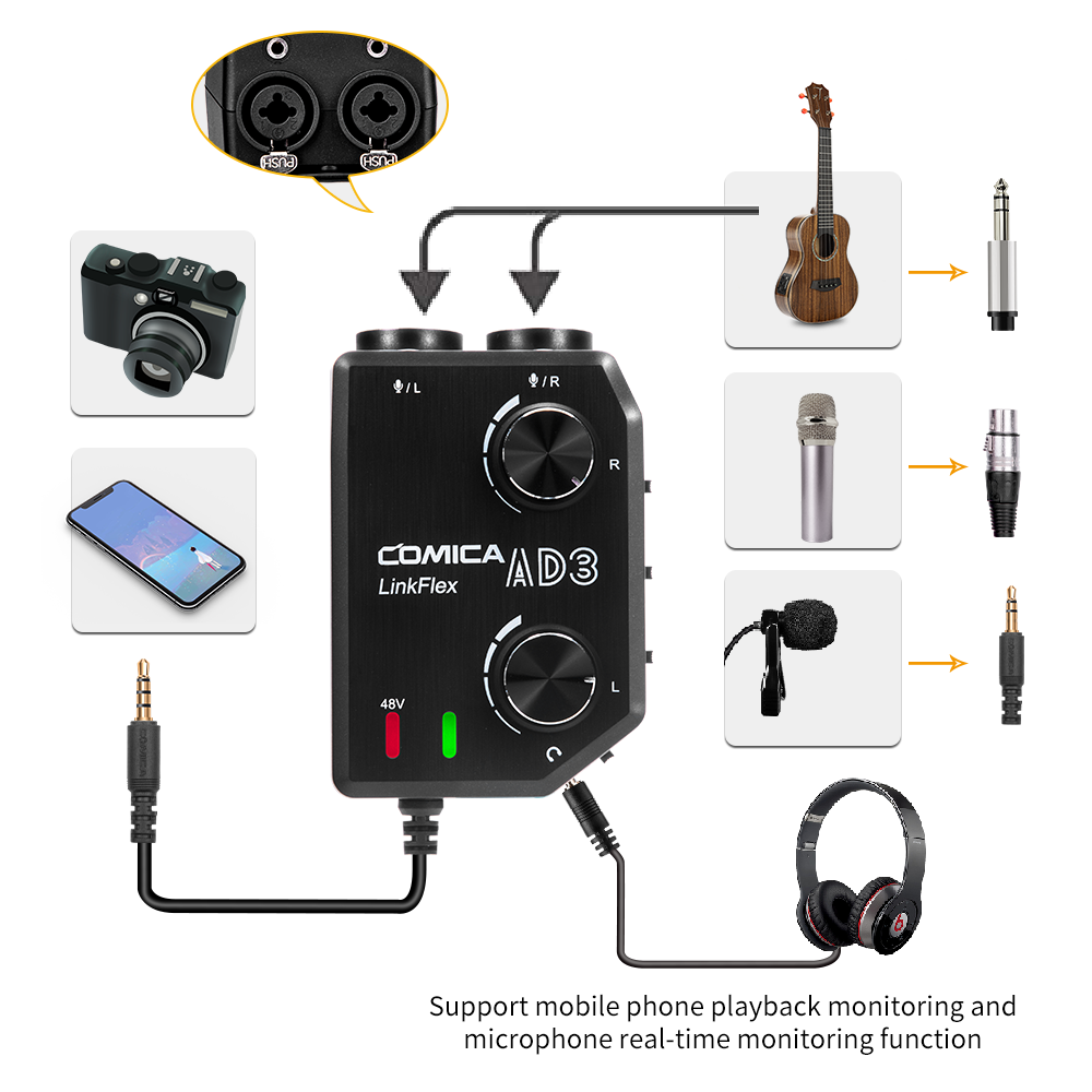 COMICA AD3 XLR/3.5mm/6.35mm Microphone Audio Preamp Mixer/Adapter/Guitar Interface For DSLR Cannon Nikon Camera IPhone Android