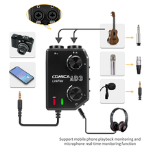 COMICA AD3 XLR/3,5mm/6,35mm micrófono Audio Preamp mezclador/Adaptador/Interfaz de guitarra para DSLR canon cámara Nikon iPhone Android(China)