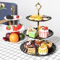 3 яруса кружевных PP с многослойным покрытием тарелка для торта одежда для свадьбы, дня рождения десерт поднос плодоовощ Кухня аксессуары ро...