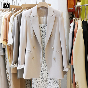 LY VAREY LIN New Spring Autumn Vintage Women Long Sleeve Solid Blazer Office Ladies Notched Collar Double Breasted Blazer 1