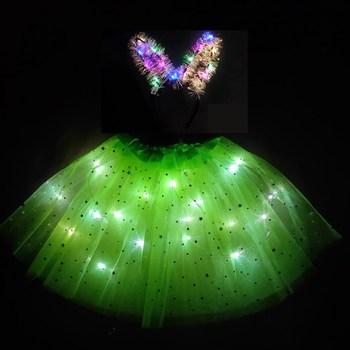 2020 nowa dziecięca i dziewczęca spódnica świetlna led krótka spódniczka puszysta krótka spódniczka nowa dziwna krótka spódniczka zielona tutu sukienka tanie i dobre opinie Nowość Dobrze pasuje do rozmiaru wybierz swój normalny rozmiar POLIESTER Stałe Powyżej kolana mini suknia balowa
